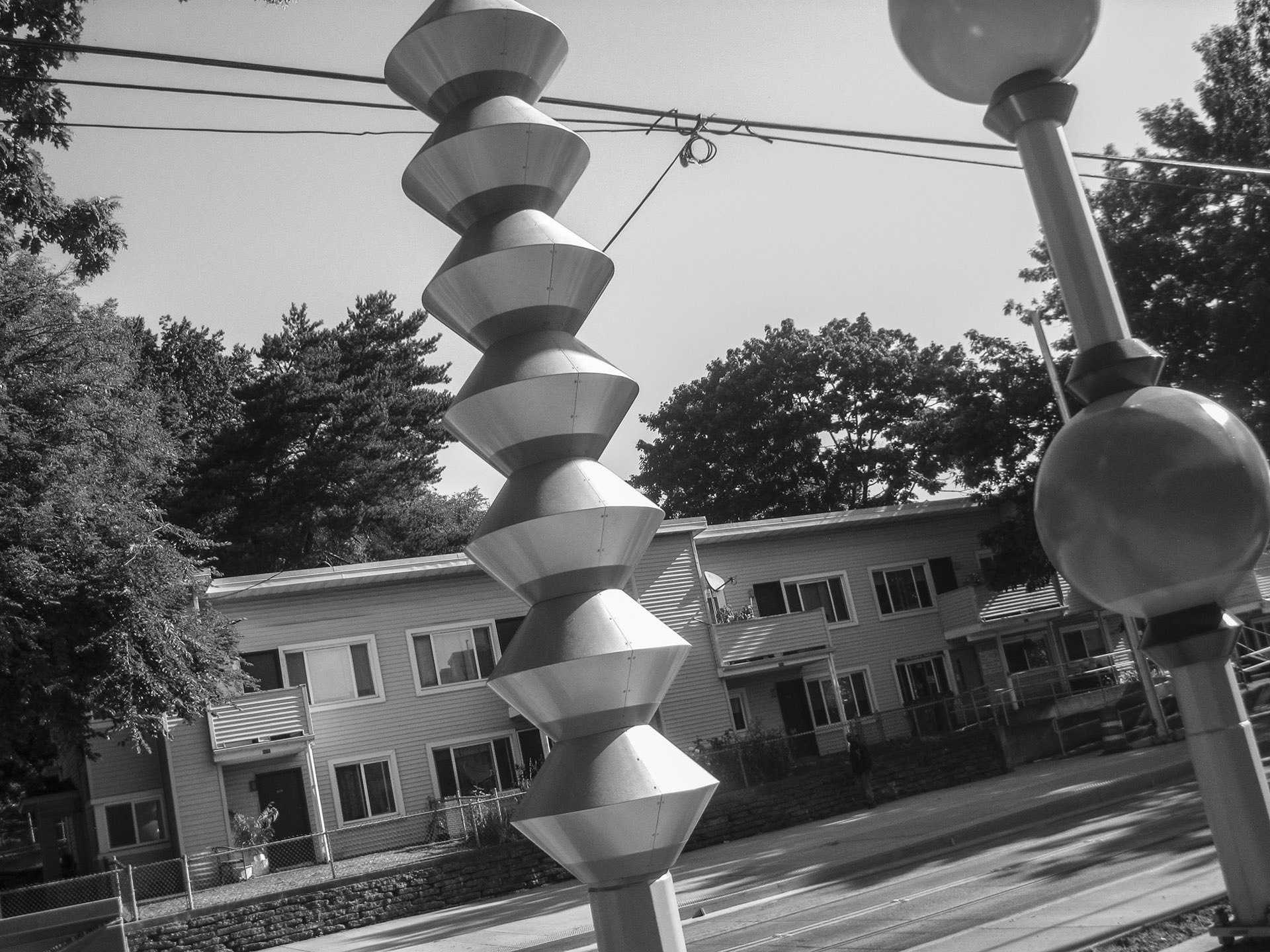 The public art adds to the old community which will soon become new.