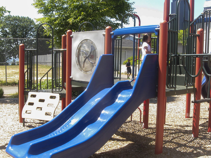 The playground behind the community center