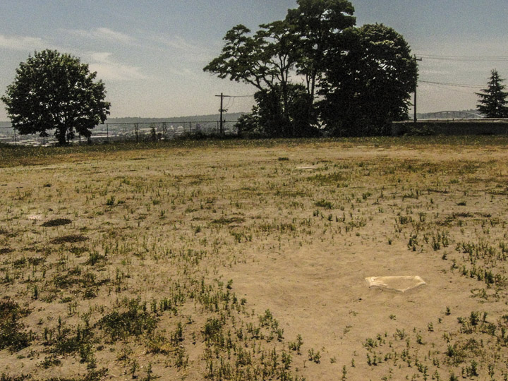 An empty baseball field near the Yesler Commuunity Center
