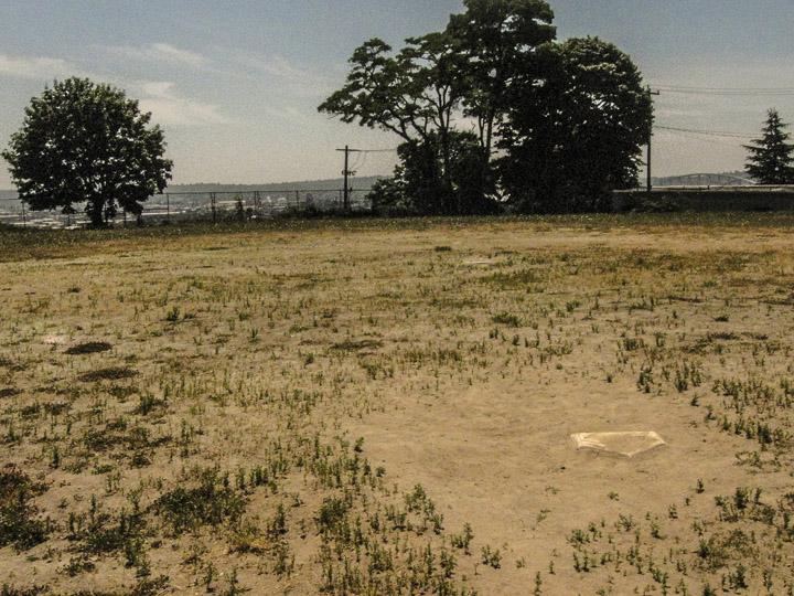 An empty baseball field near the Yesler Commuunity Center